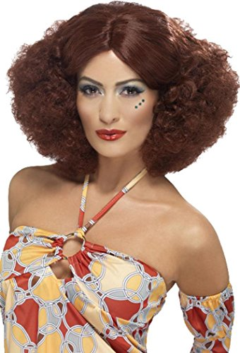 1970's Afro Pruik Disco Fancy Jurk Party Dames Club & Party Hoofddeksels Bruin