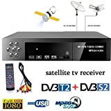 LFJNET (Upgraded Version) Smart Digital Satellite TV Receiver DVB-T2+DVB-S2 FTA 1080P Decoder Tuner MPEG4 EU Plug