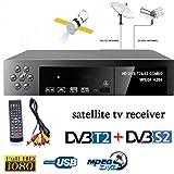 DishyKooker Smart Digital Satellite TV Receiver DVB-T2+DVB-S2 FTA 1080P Decoder Tuner MPEG4 EU