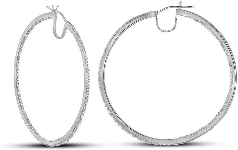 10kt White Gold Womens Round Today's only Diamond 4 3 Fine Earrings Elegant Hoop Cttw