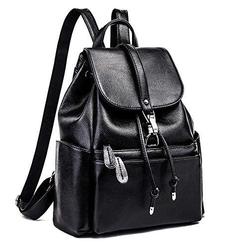 LINJIANG Pu Backpack Women'S Trend Fashion Women'S Bag Multifunctional Handbag Travel Bag Black