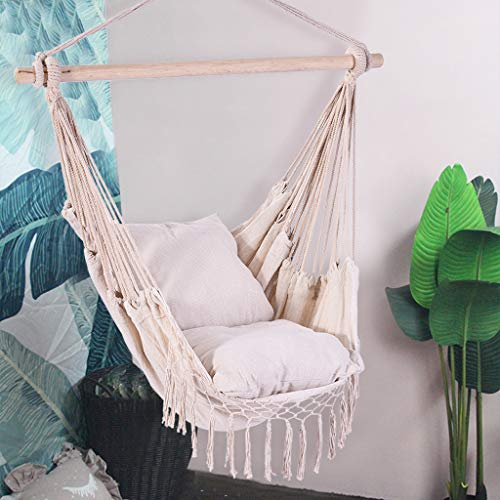 OKBOP Hammock Chair Hanging Rope Swing Seat, Comfort Macrame Swing Set with 2 Cushions, Large Hanging Chair, Indoor Outdoor Swing Chairs, Comfort & Durability (Form US) (A)