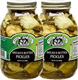 Amish Wedding Foods Bread & Butter Pickles, TWO 32 oz. Quart Jars (Bread & Butter)