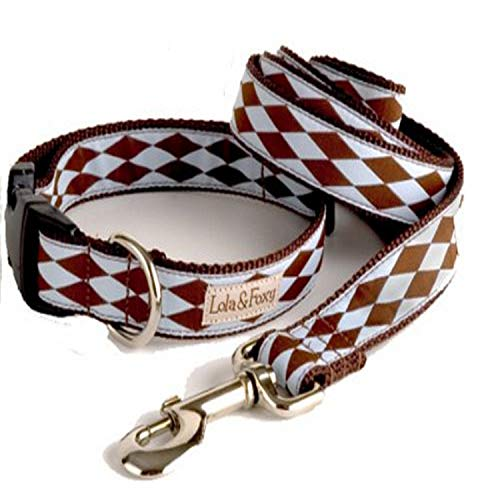 Lola & Foxy Joker Blue with Brown Diamonds Dog Collar, 1-Inch Wide, Large (13-Inch-20-Inch Neck Size)