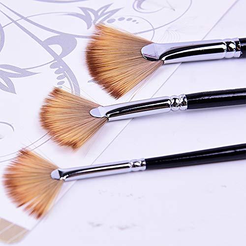 DishyKooker 3Pcs / set Pinceles de pintura Set Fan Shape Artist Fan Brush Nylon Hair Copper Handle Acuarela Art Pens para acuarela Acrílico Pintura al óleo Suministros