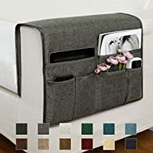 """Guken Sofa Armrest Organizer, Couch Arm Chair Caddy Storage with 6 Pockets for TV Remote Control,Magazine,Smart Phone,Books, iPad (Gray,19""""X25"""")"""