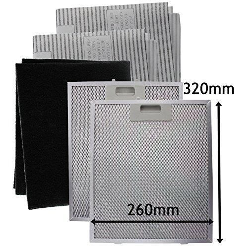 SPARES2GO Metaalgaas, Koolstof + Vetfilters voor afzuigkap/afzuigkap (320 x 260 mm)