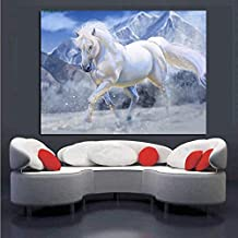 KFEKDT HD White Running Horse Oil Painting on Canvas Horse Animal Minimalism Modern Wall Art Picture for Kid Room Decor (Frameless) A2 60x80CM