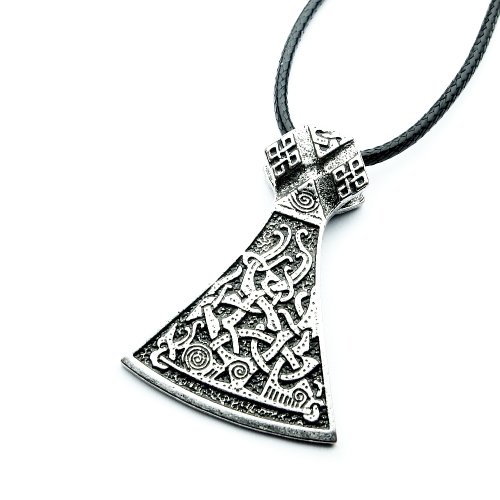 Miss - E - Jewels TM Antik-Silber verzierte Mammen Axt Anhänger Halskette Damen Herren Wikinger nordische Sekira nordische Talisman Rune
