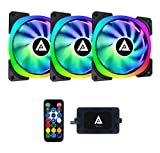 Apevia LP314L-RGB Lunar Pro 140mm Silent Dual-Ring Addressable RGB Color Changing LED Fan for Gaming with Remote Control, 32x LEDs & 8X Anti-Vibration Rubber Pads (3-pk)
