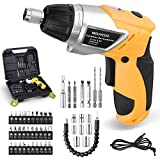 Electric Cordless Screwdriver, NOUVCOO 47Pcs Rechargeable Power Screw Guns with Built-In LED Lights, 7 Torque Settings, 3.6V 1300mAh Li-ion Battery, Complete Accessories for Home DIY, Yellow