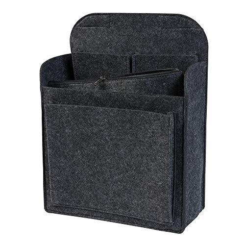 Rucksack Organizer mit herausnehmbarer Reißverschlusstasche aus Filz, dunkelgrau (Farbe wählbar) | Einsatz für z.B. Fjallraven Classic