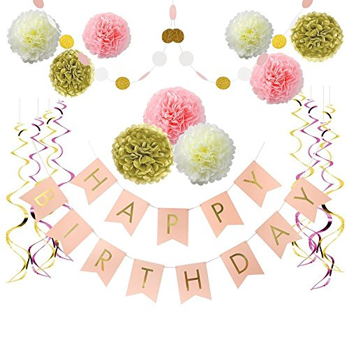 Read About LITAUS Birthday Decorations, Happy Birthday Decorations for Women, Happy Birthday Banner,...