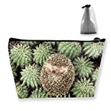 Trapezoidal Cosmetic Bags Makeup Toiletry Pouch Hedgehog With Prickly Pear Travel Storage Bag Phone Purse
