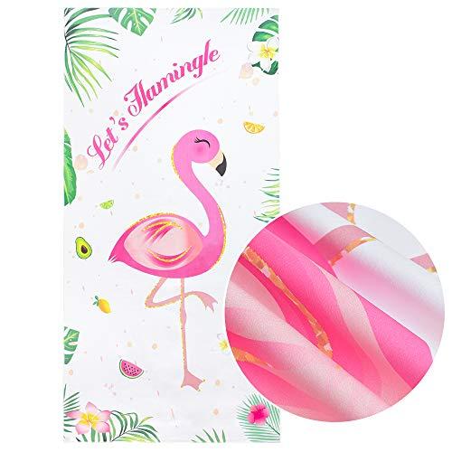 Flamingo Strandtücher - Hawaiian Tropical Partyzubehör 76 x 152cm Mikrofaser Schnelle trockene Wasseraufnahme Schwimmbad Stranddecke Reise Urlaub Strand Geschenk für Mädchen Frauen