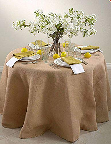 AK TRADING CO. 90-Inch Round Jute Burlap Round Table Overlay Table Cover - Natural. Made in USA.