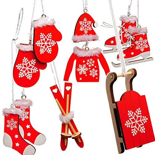 alles-meine.de GmbH 10 TLG. Deko Set -  Winter & Weihnachten - Ski / Schlittschuhe / Schlitten - aus Holz - Miniatur / Diorama - Anhänger - Weihnachtsdeko / Winter...
