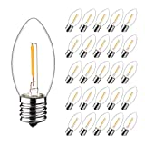 25 PCS iSoptox C9 Waterproof Candle Replacement LED Light Bulbs, 0.6W Equivalent to 7W, Warm White 2700K Indoor Outdoor String Lights, E17 Candelabra Screw Base Edison Night Light Bulbs, Clear Glass