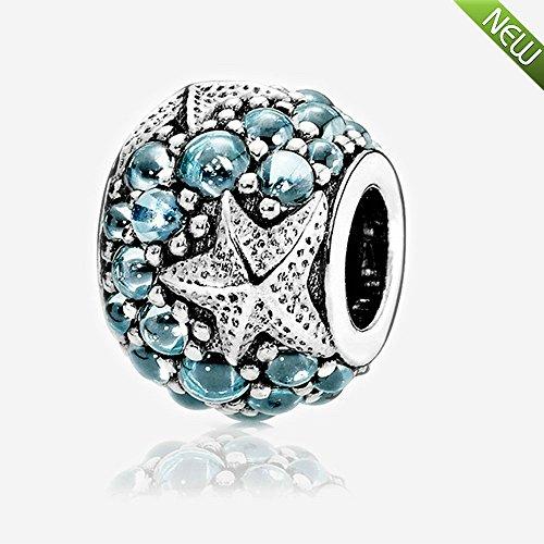 PANDOCCI Adatto a perline fai da te per Pandora braccialetto 2016 estate fascino oceanico stella marina con zirconi 100% 925 charm in argento (1PCS, blu scuro)