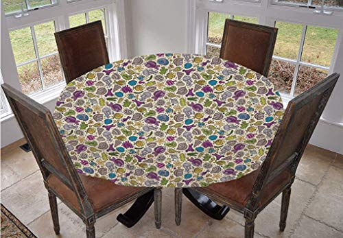 Cartoon Round Tablecloth,Colorful Undersea Ocean Creatures Shells Fish Tube Moss Hand Drawn Circles Image Polyester Indoor Outdoor Tablecloth,48 Inch,for Dining Room Kitchen Party Multicolor
