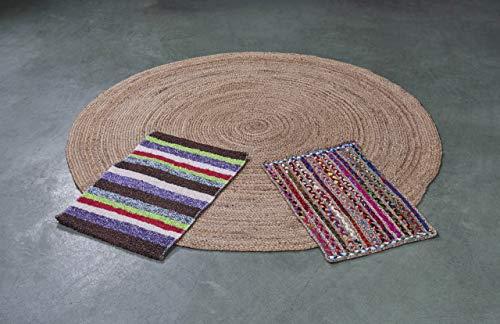 Alfombra Yute (Ø 60) Color Natural Goti, Pack alfombras de Yute Redonda + Rectangular + Jarapa de la Alpujarra, Tejidas a Mano - Salón, Cocina, Dormitorio, Pasillo, jardín