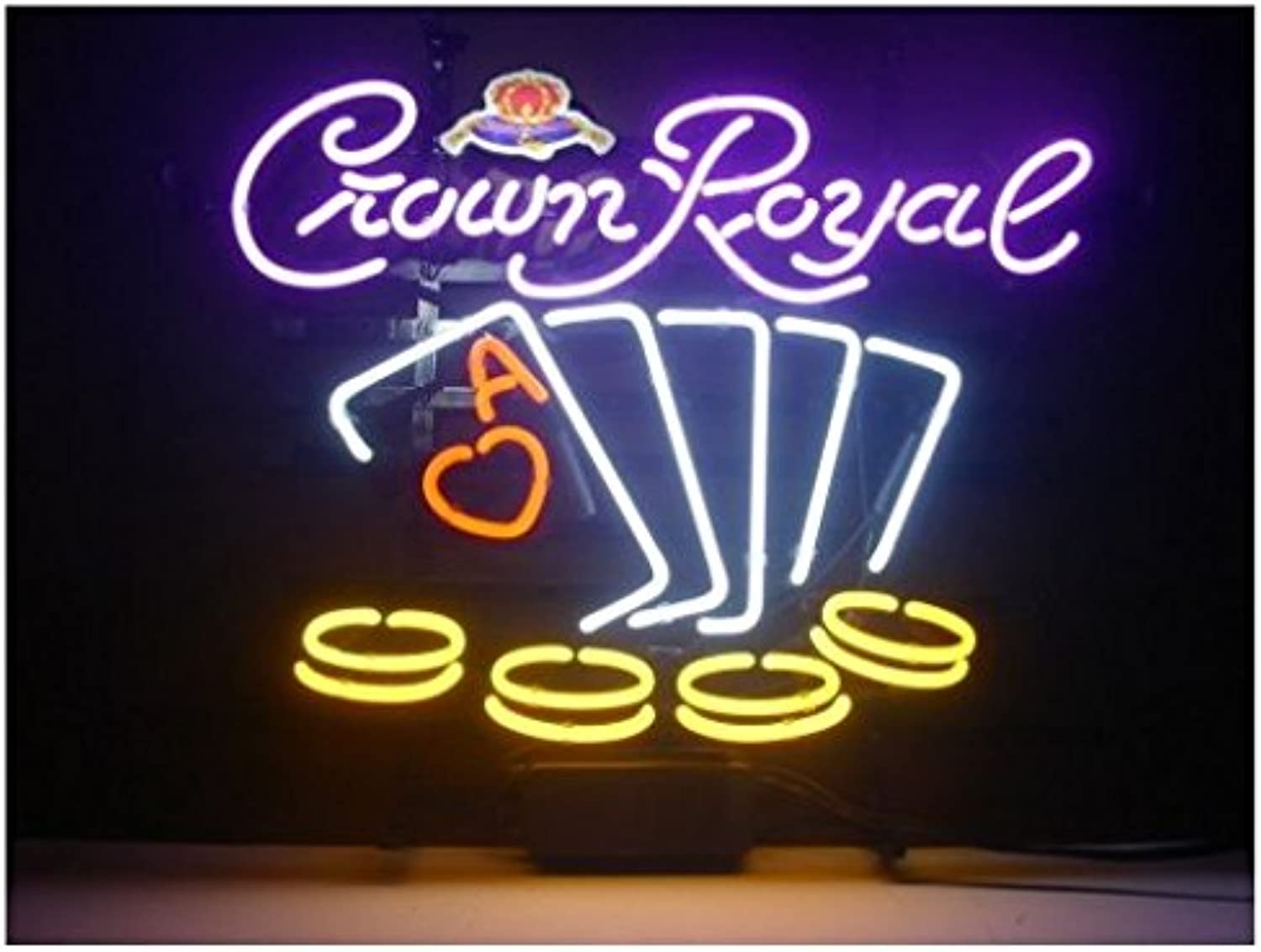 Crown Royal Poker Beer Bar Pub Store Party Game Room Wall Windows Display Neon Signs 19x15