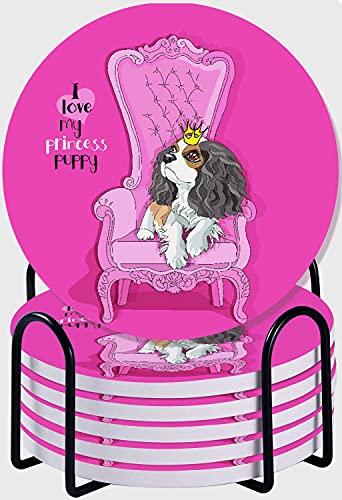 GUVICINIR Juego de 6 Posavasos de cerámica Absorbente con Base de Corcho,Apto para Tipos de Tazas,Cavalier King Charles Spaniel Puppy Princess Crown Pink Sillón dormitorios Dormitorios