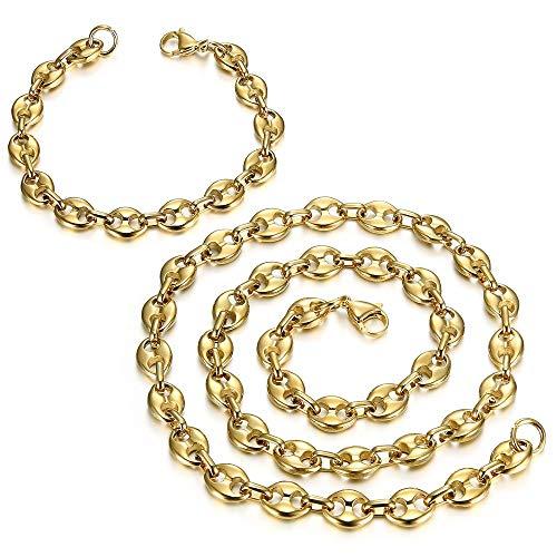 BOBIJOO JEWELRY - Set Halskette Kette + Armband kaffeebohnen-Stahl 316L Vergoldet Vergoldet 4 Größen diffentes - Vergoldet 9mm