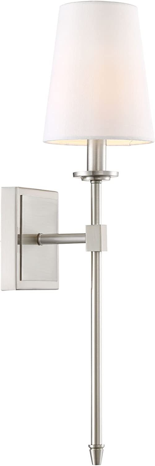 Kira Home Torche 20  Wall Sconce Wall Light + Linen Shade, Brushed Nickel Finish