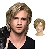Swiking Men Wigs Blonde Layered for Male Guy Short Fluffy Natural Hair Synthetic Halloween Cosplay Costume Party Full Wigs