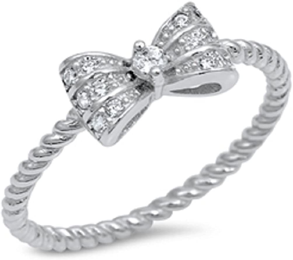CloseoutWarehouse Cubic New product type Zirconia Fancy Bow El Paso Mall Ring Sil Tie Sterling