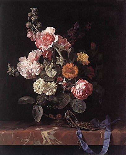 The Museum Outlet - Stilleven met een boeket bloemen in een glazen vaas en zakhorloge - Canvas Print Online (24 x 18 Inch)