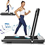 Borisdar 2 in 1 Folding Treadmill, 2.25HP Under Desk Electric Treadmill with Bluetooth Speaker, Installation-Free, Running Machine Portable Treadmill for Running and Walking Exercise Home Gym(Black)