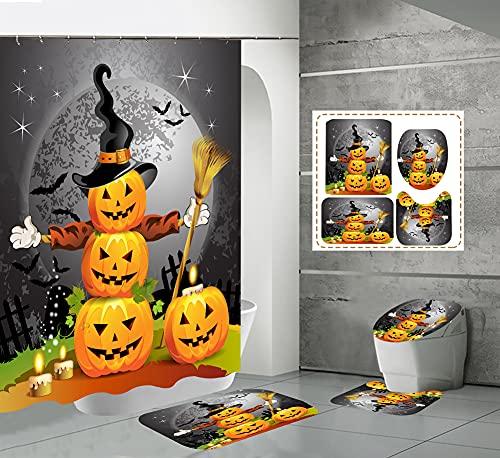 CQFFCG Juego de alfombras de baño 4 Piezas de baño de Serie de Halloween con Cortinas de Ducha Alfombrillas de baño Antideslizantes Impermeables Conjuntos (Forma 69)