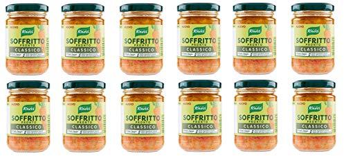 12x Knorr Soffritto Classico Gemüsemischung mit nativem Olivenöl extra 130g Glas 100% Natürliche Zutaten