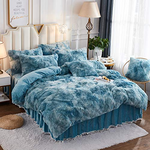 JAUXIO Luxury Abstract Faux Fur Bedding Set Tie Dye Printed Shaggy Duvet Cover with Pillow Shams Soft Crystal Velvet Reverse (Queen, Turquoise)