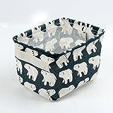 Leisial Aufbewahrungsbox für Baumwolle und Wäsche, Aufbewahrungstasche aus wasserdichtem Material, Griffe beidseitig für Kleidung von Kindern mit niedrigem Alter oder Haustier-Zubehör, style D, 20.5×16.5×13.5cm - 4