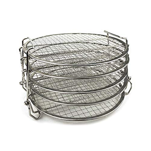 ddLUCK Dehydrator Rack, Food Grade Stainless Steel Dehydrator Grill Stand Air Fryer Rack with Five Stackable Layer For Ninja Foodi Pressure Cooker and Air Fryer 6.5 and 8 Quart, Instant Pot Duo Crisp 8 Qt