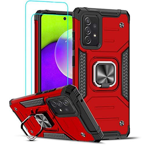 LeYi Funda Samsung Galaxy A52 4G / 5G Armor Carcasa con [2 Unidades] Cristal Templado, Cover con 360 Grados Magnetic Anillo Hard PC y Silicona TPU Bumper antigolpes Case para Samsung A52 4G /