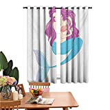 MartinDecor Mermaid Blackout Window Drapes Cute Mermaid Playing with Her Hair Folk Mythical Character Princess Thermal Insulated & Noise Window Curtain for Living Room 42'x63' Turquoise Fuscia White