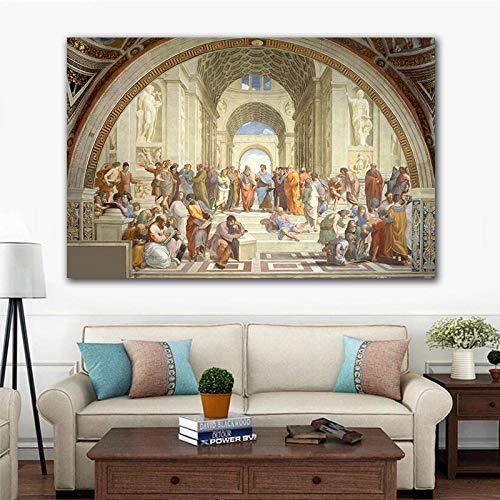 Klassieke Vintage Decoratieve Canvas Schilderij Spreken met Plato Renaissance Mural Wall Art Picture Artwork voor Woonkamer 60x90cm Geen Frame