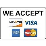 Sar54ryld We Accept Discover Visa American Express Mastercard - Cartel de aluminio (30 x 45 cm)