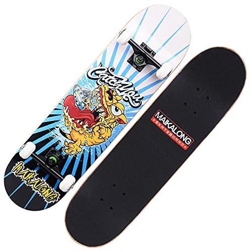 VOMI Tabla Skate 31'x8' Skateboard Cóncava con 4 Ruedas de PU 100A, Monopatines Completa 7 Capas de Madera de Arce, Patineta Creativo para Principiantes, Niños, Adolescentes y Adultos,Monster