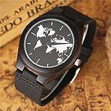 Luxury Ebony Wood Watches Creative World Maps Analog Clock Quartz Genuine Leather Male Wristwatch