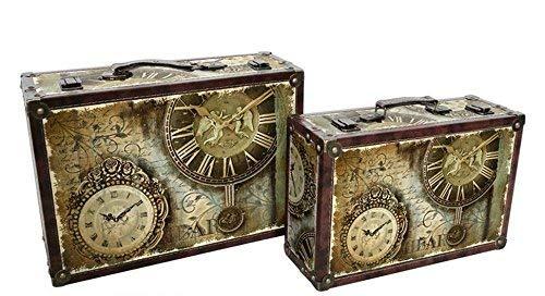 Alice 's Collection–Juego de 2Maletas de Madera Relojes–39x 27x 13cm y 34x 22x 11cm