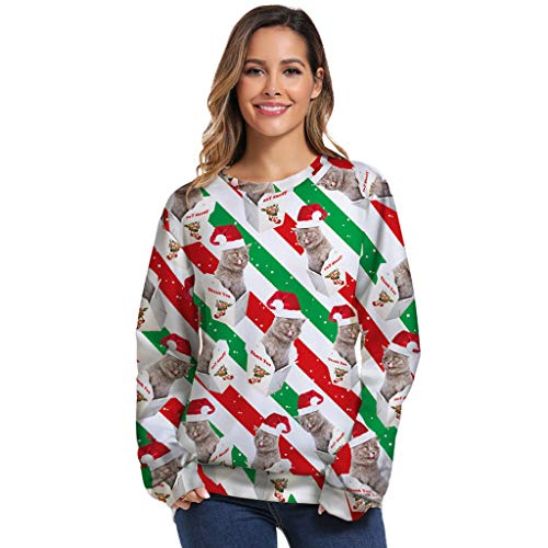 Best Price Unisex Ugly Christmas Sweatshirt Pullover 3D Cute Small Cat Christmas Sweatshirt Plus Siz...