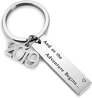Inspirational Gift So The Adventure Begins Stainless Steel Keychain for Women Girls Wedding Gifts