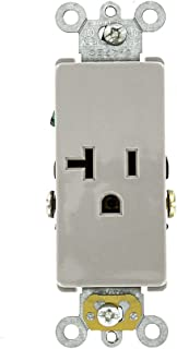 Leviton 16341-GY 20 Amp, 125 Volt, Decora Plus Single Receptacle, Straight Blade, Commercial Grade, Self-Grounding, Gray