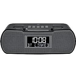 Sangean RCR-20 FM-RDS (RBDS) AM / Bluetooth / Aux-in / USB Phone Charging Digital Tuning Clock Radio with Battery Backup, Black, 13.8x 13.1x 4.9
