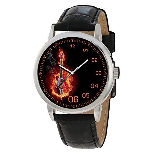 Burning Guitar Classic Rock Art Reloj de pulsera coleccionable de 40 m